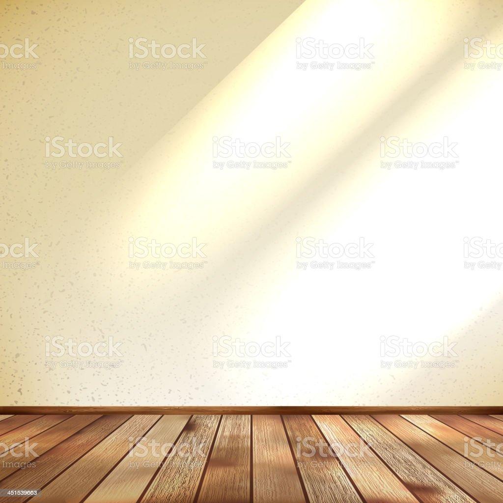 Empty beige wall and wooden floor room. EPS 10 royalty-free stock vector art