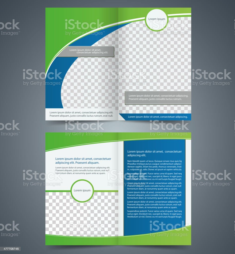 Empty bifold brochure template design with green color, booklet vector art illustration