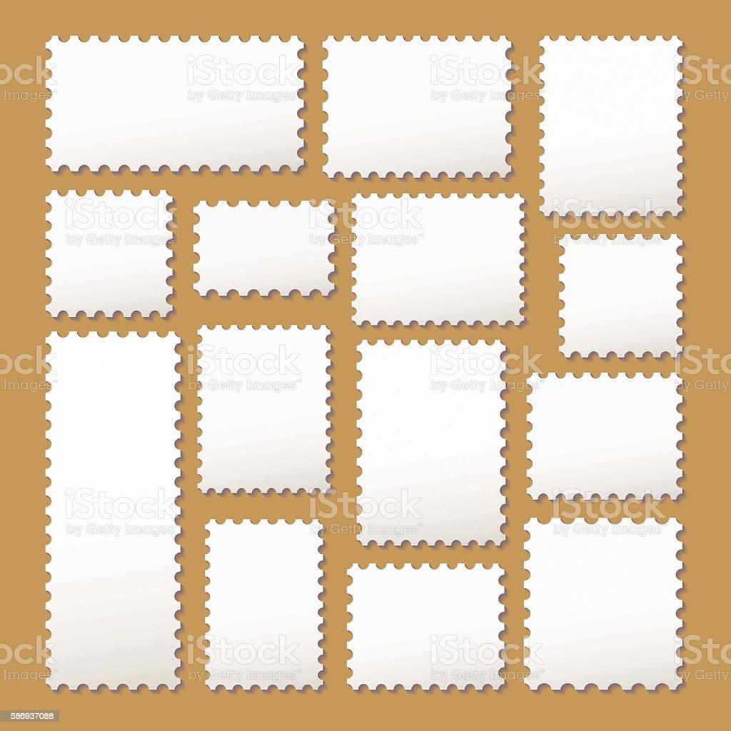 empty blank postage stamps vector art illustration