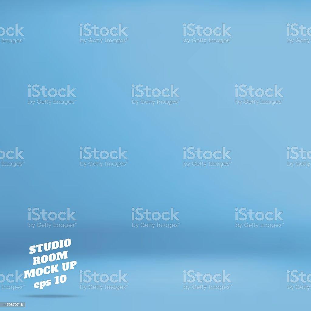 Empty blue studio room background vector art illustration