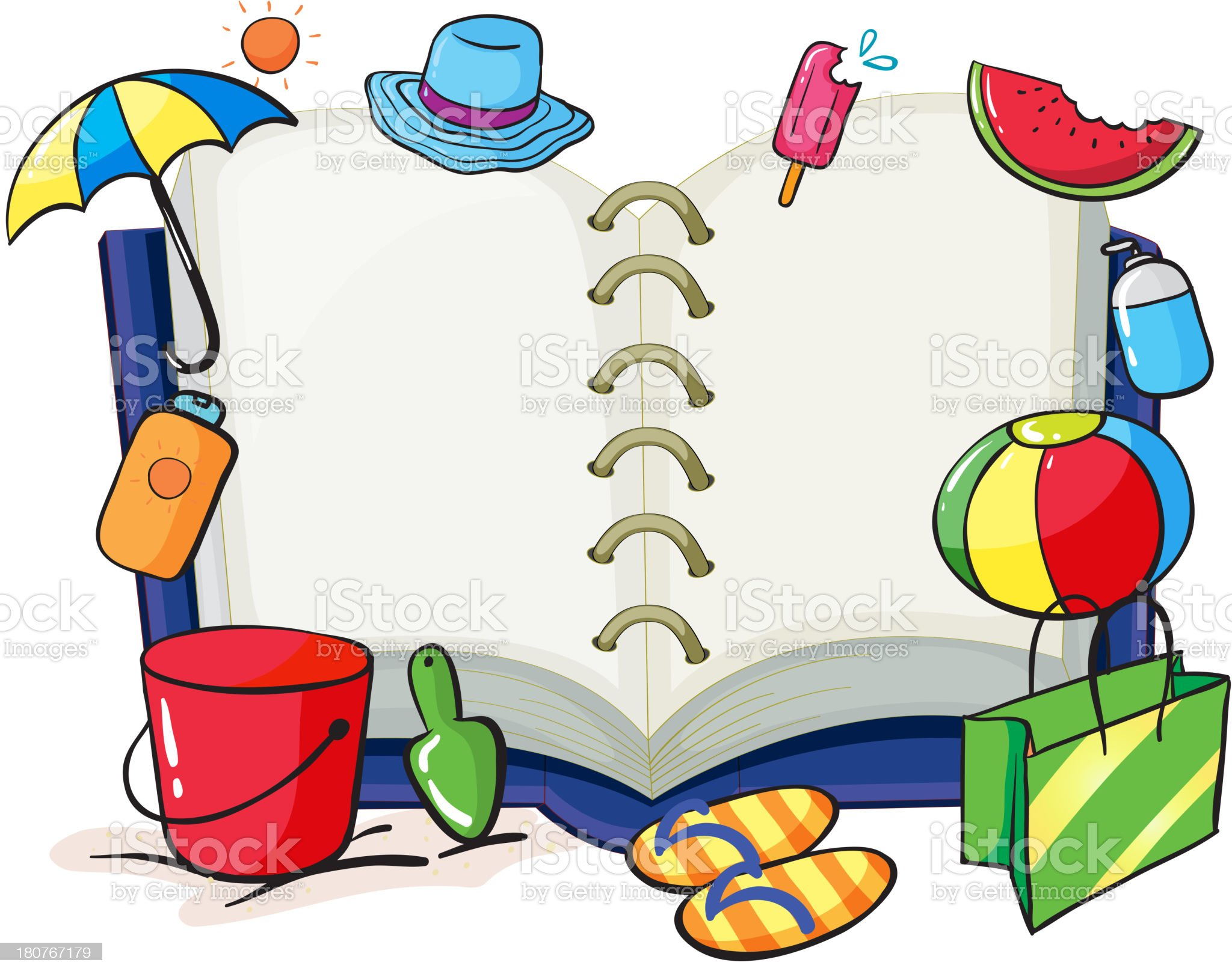 Empty book with the things used during summer royalty-free stock vector art