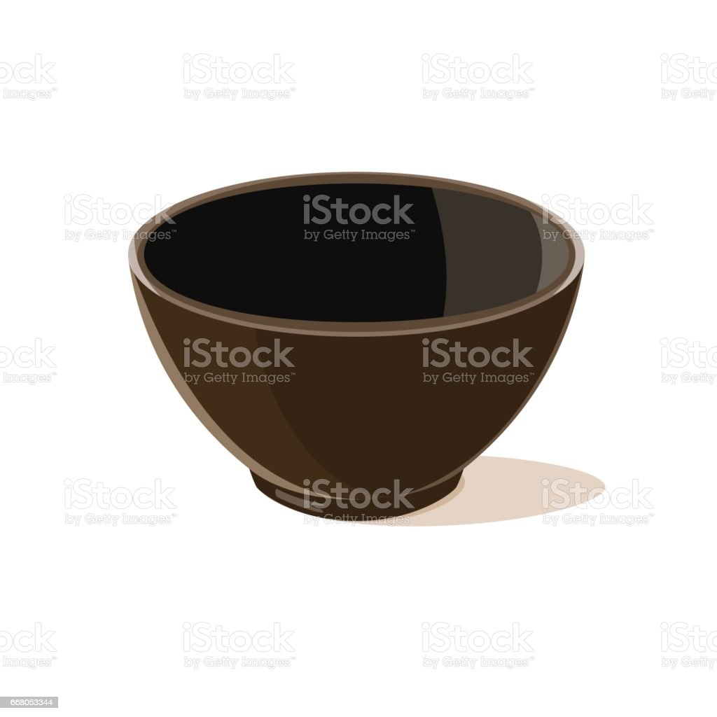 Empty brown bowl vector art illustration