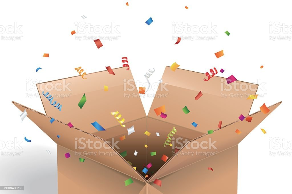 Empty cardboard box opened with confetti vector art illustration