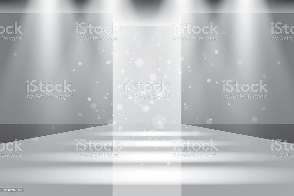Empty catwalk, fashion runway illuminated vector vector art illustration