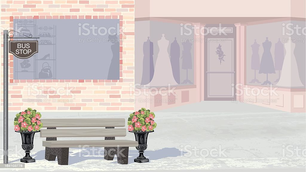 Empty City Street With Stores vector art illustration