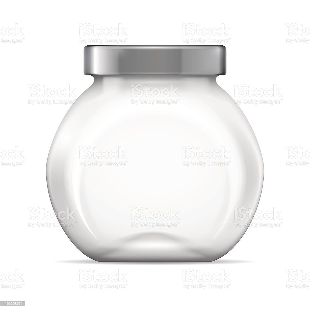 Empty clear glass jar with silver lid vector art illustration