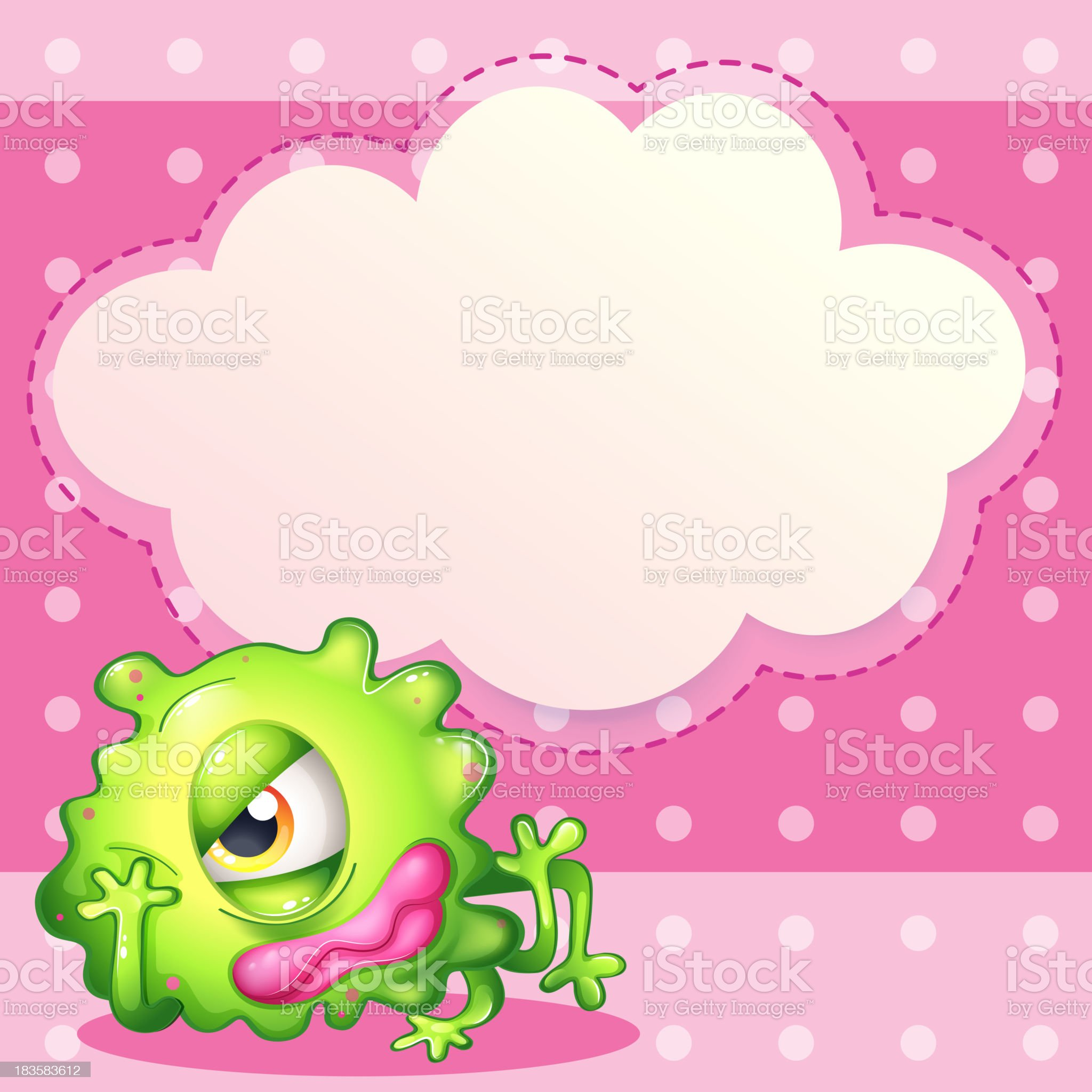 empty cloud template at the back of a green monster royalty-free stock vector art