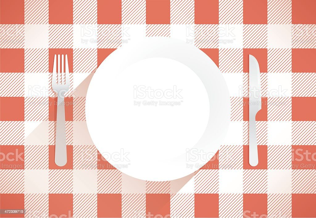 Empty Dinner Plate with Fork and Knife royalty-free stock vector art