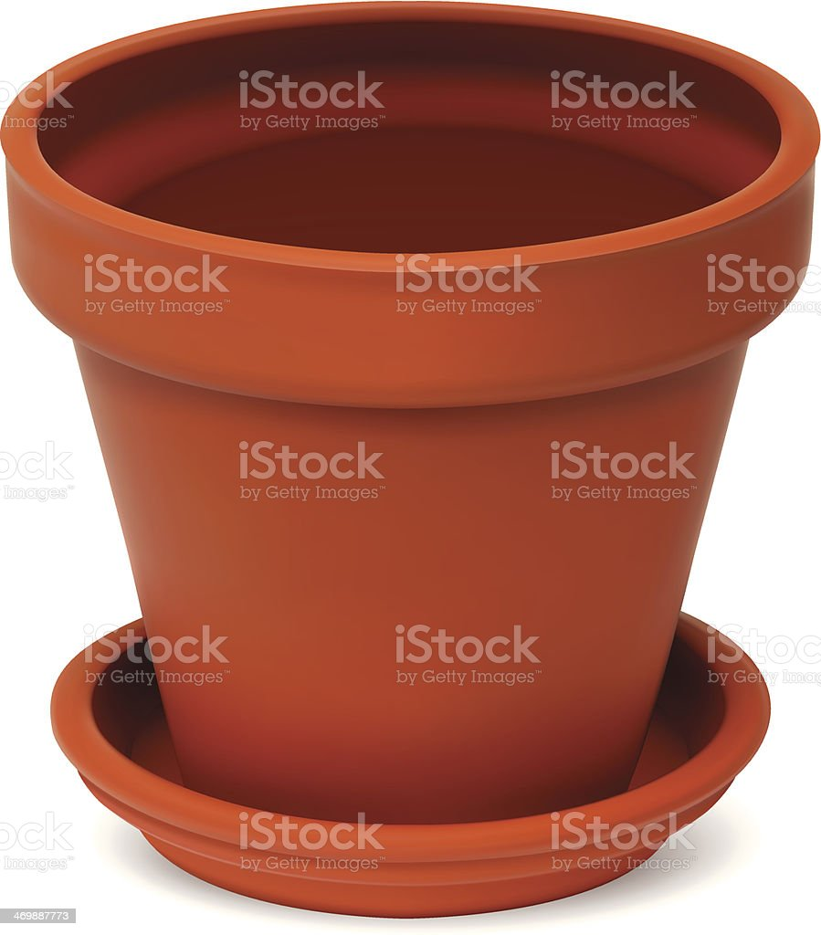 Empty Flower Pot vector art illustration