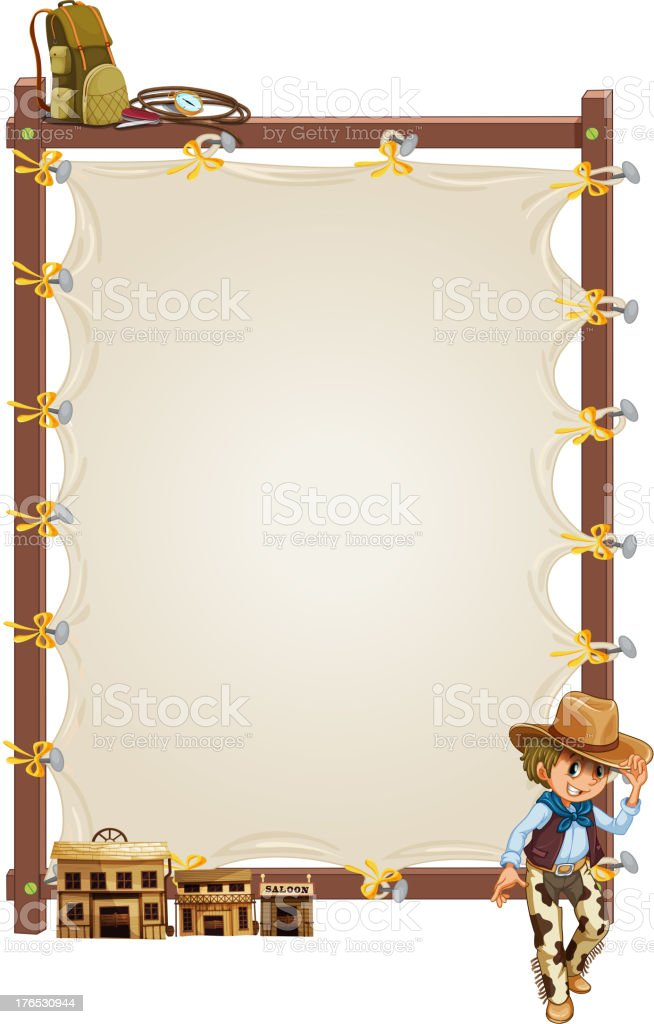 empty frame banner with a cowboy and saloon bars royalty-free stock vector art