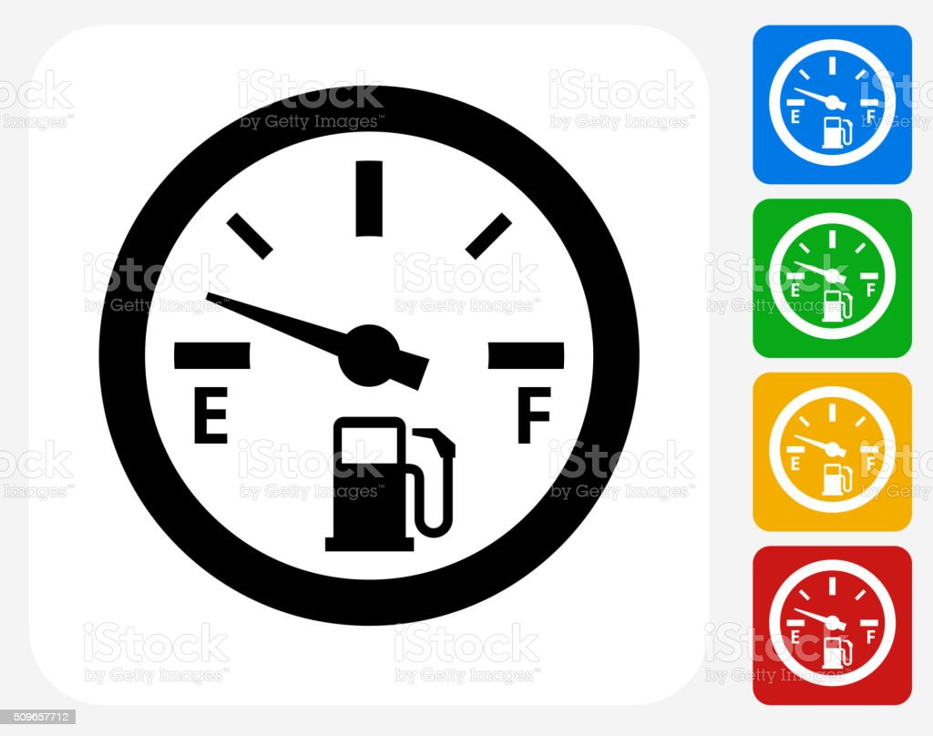 Empty Fuel Meter Icon Flat Graphic Design vector art illustration