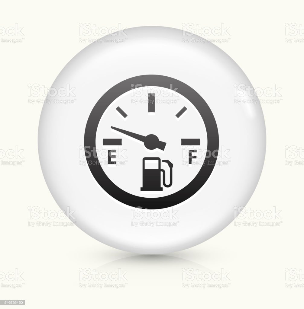 Empty Fuel Meter icon on white round vector button vector art illustration