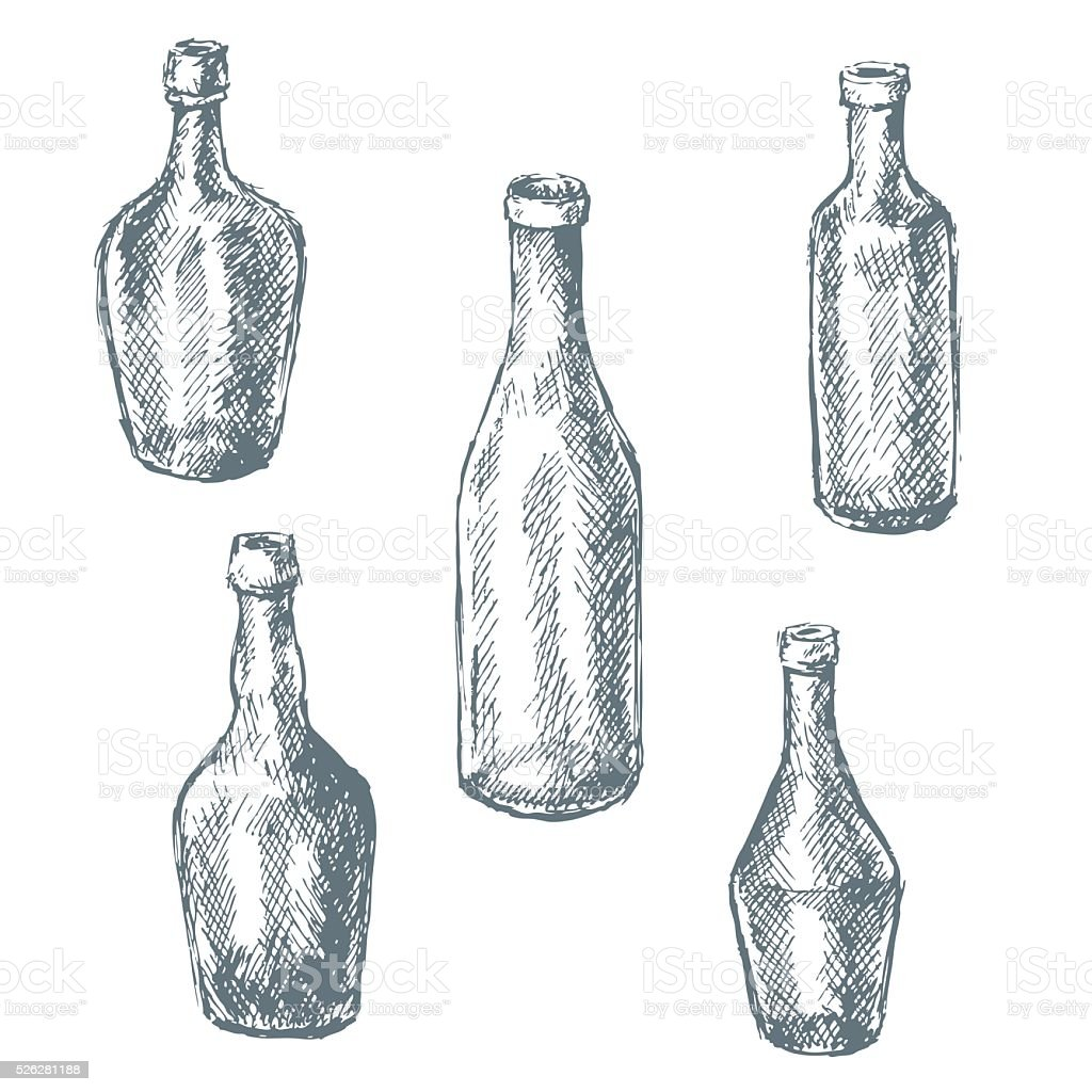 Empty  glass bottles for wine sketch. vector art illustration