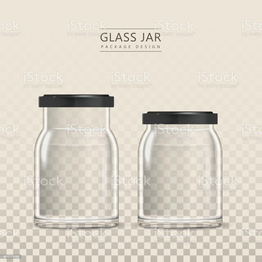 Empty glass jar template vector art illustration