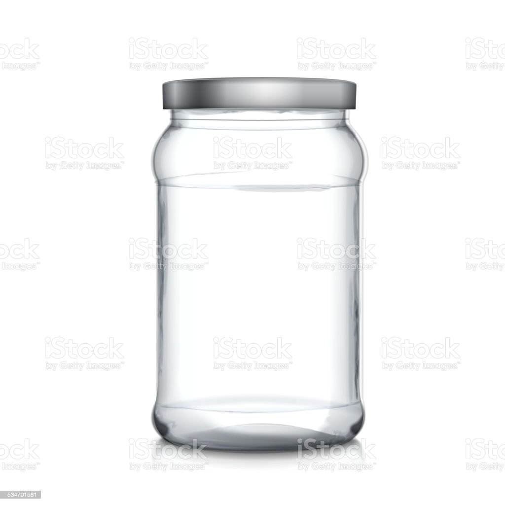empty glass jar vector art illustration