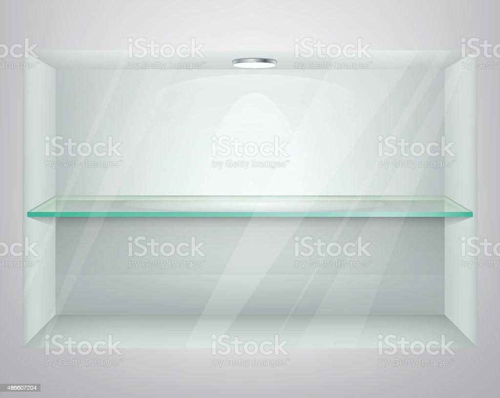 Empty glass showcase. Vector Illustration vector art illustration