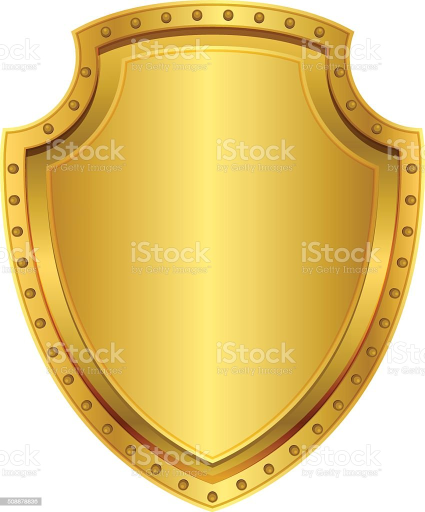 Empty gold shield. Blank metal badge with rivets vector art illustration