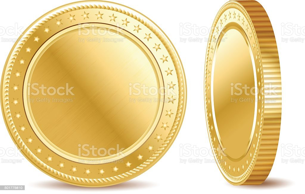 Empty golden finance coin on the white background vector art illustration