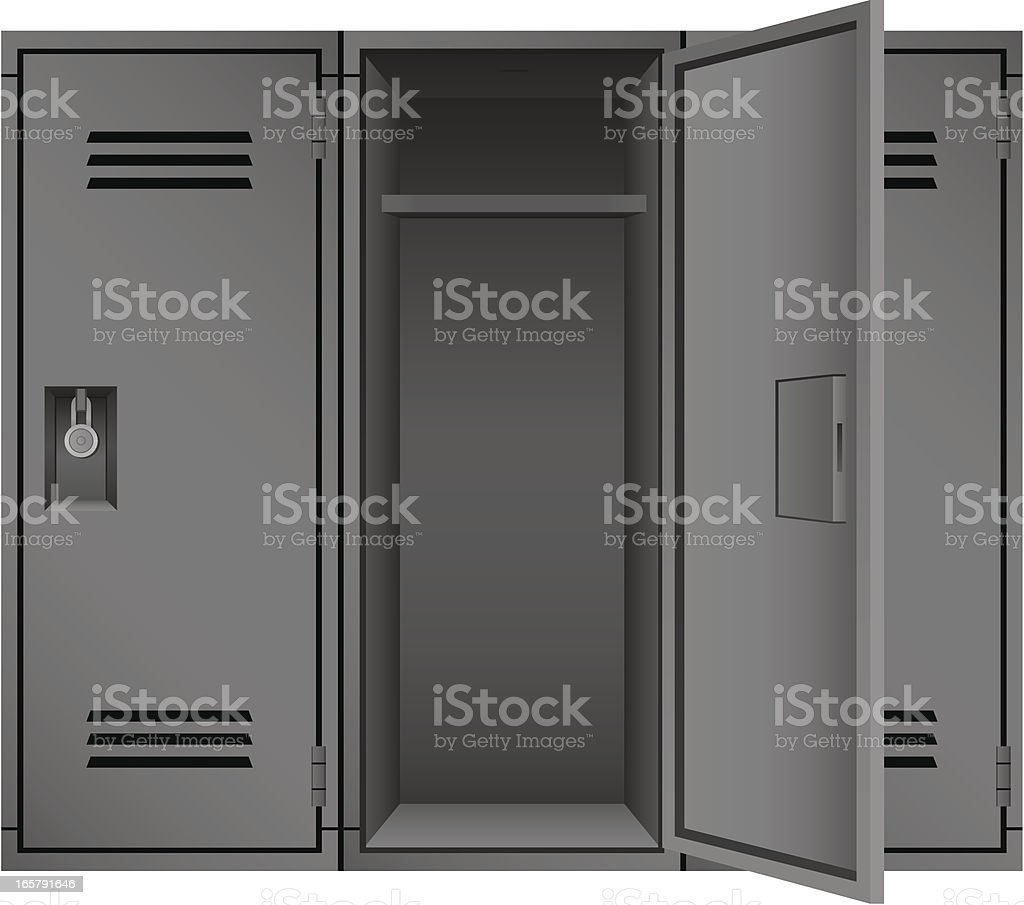 Empty Gray School Gymnasium Academic Padlock Sports Lockers Vector Illustration vector art illustration