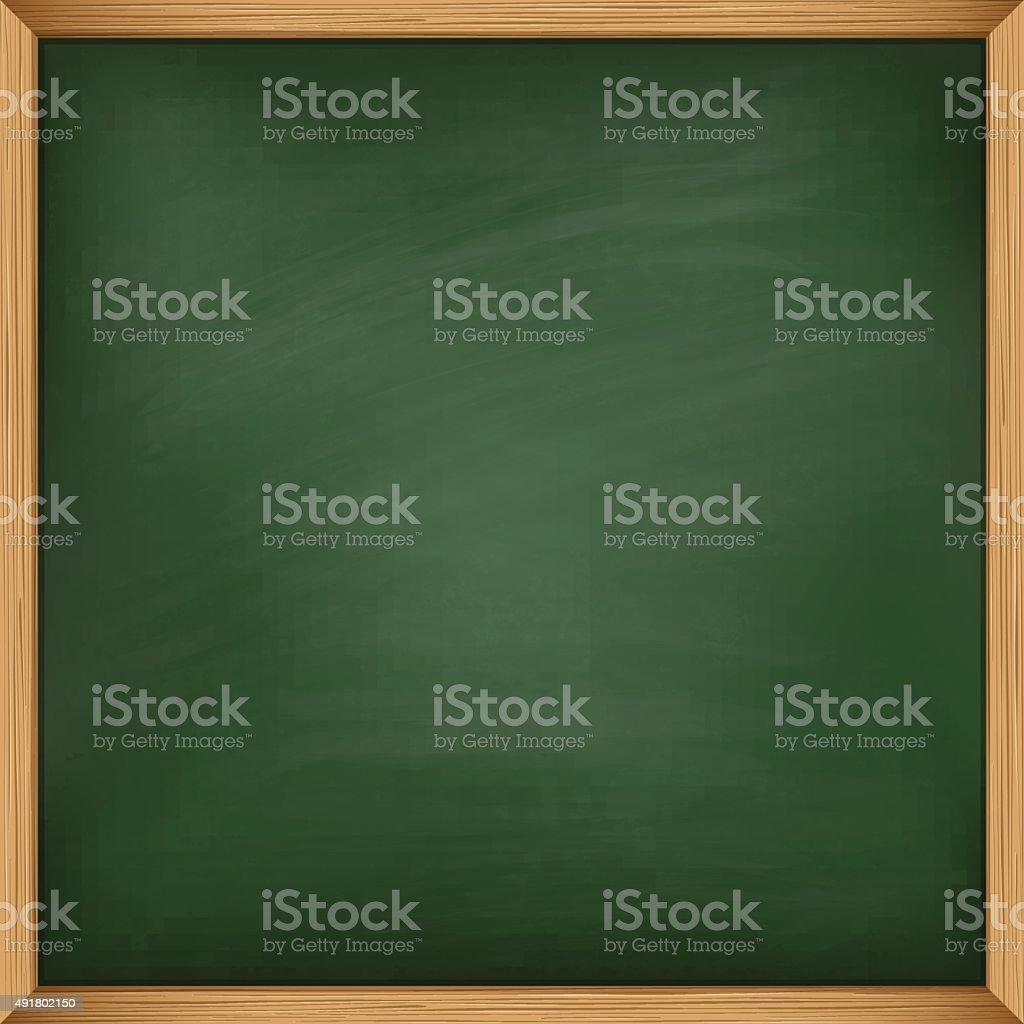 Empty green chalkboard with wooden frame. Template vector art illustration