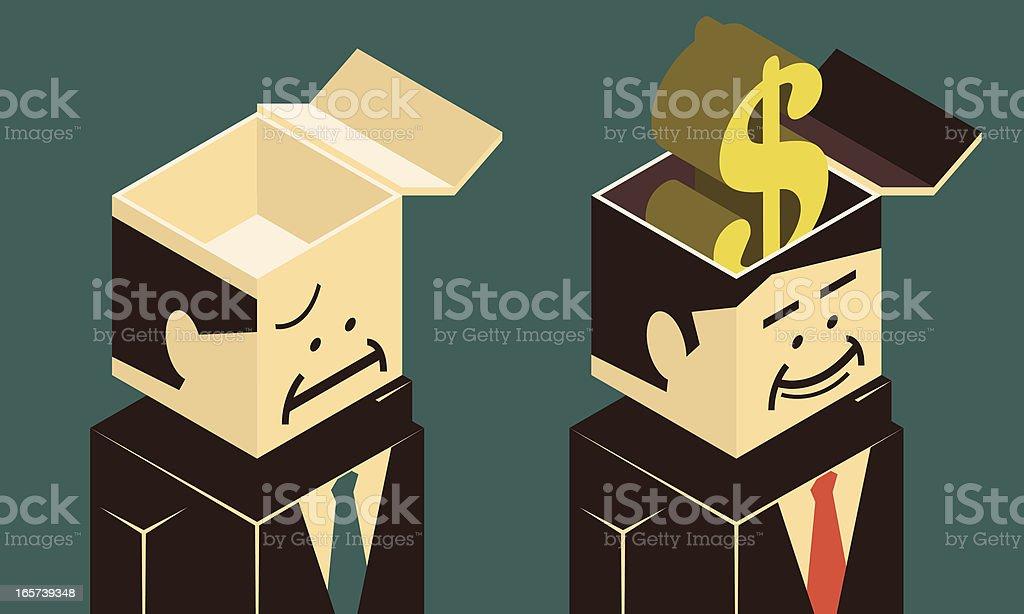 Empty head and money brain vector art illustration
