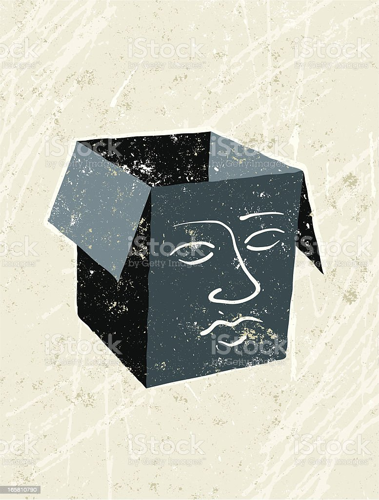 Empty headed, Face on a Box royalty-free stock vector art