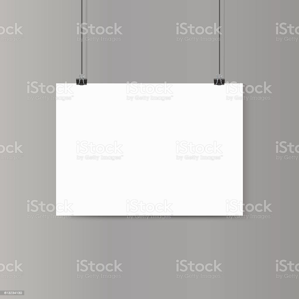 Empty horizontal white paper poster mockup on grey wall with vector art illustration