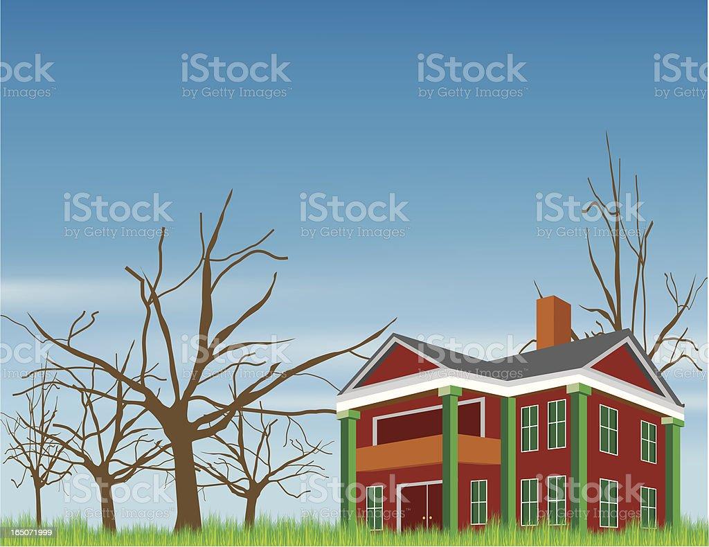 empty house vector art illustration