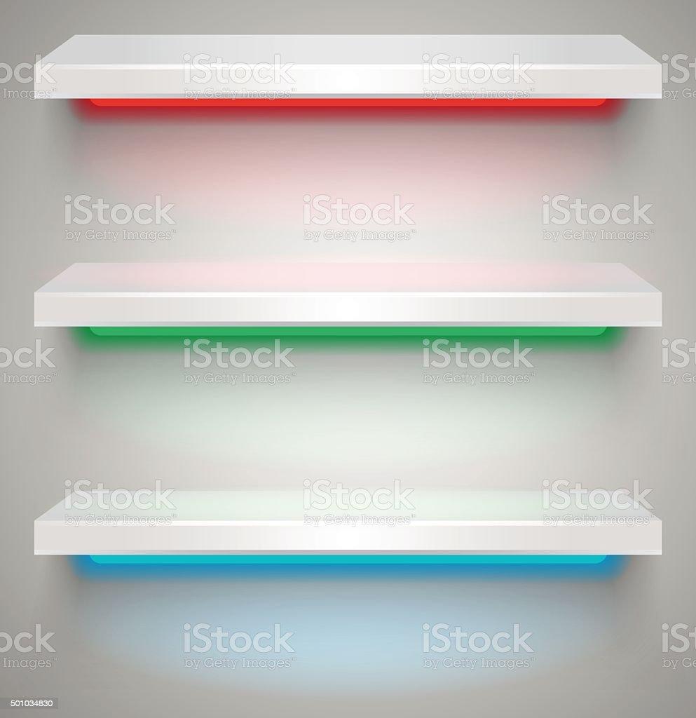 Empty illuminated shelves vector art illustration