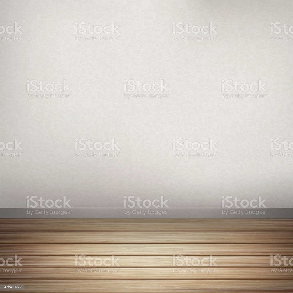 empty interior wall with wooden floor vector art illustration