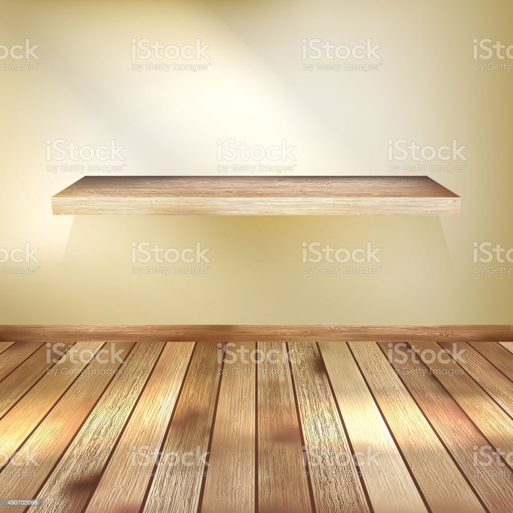 Empty interior with wood shelf. EPS 10 royalty-free stock vector art