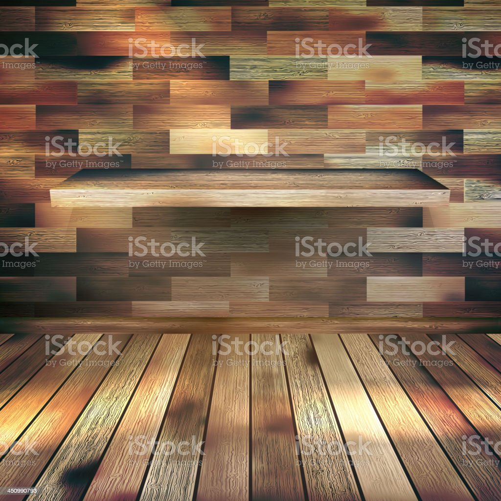 Interior wooden shelves free vector - Empty Interior With Wood Shelf Eps 10 Royalty Free Stock Vector Art