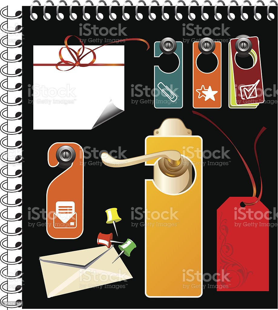 Empty label for your text, office clips, fasteners and notebooks. royalty-free stock vector art