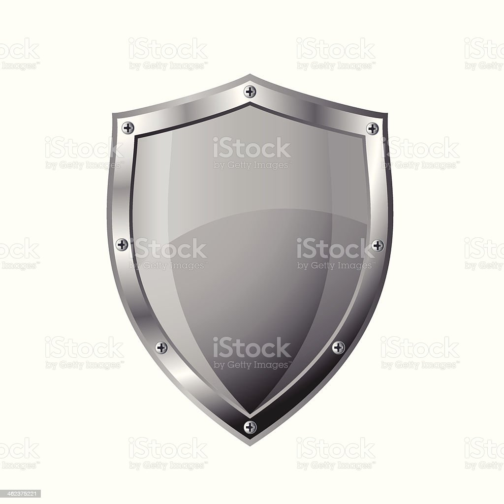 Empty metal shield vector art illustration