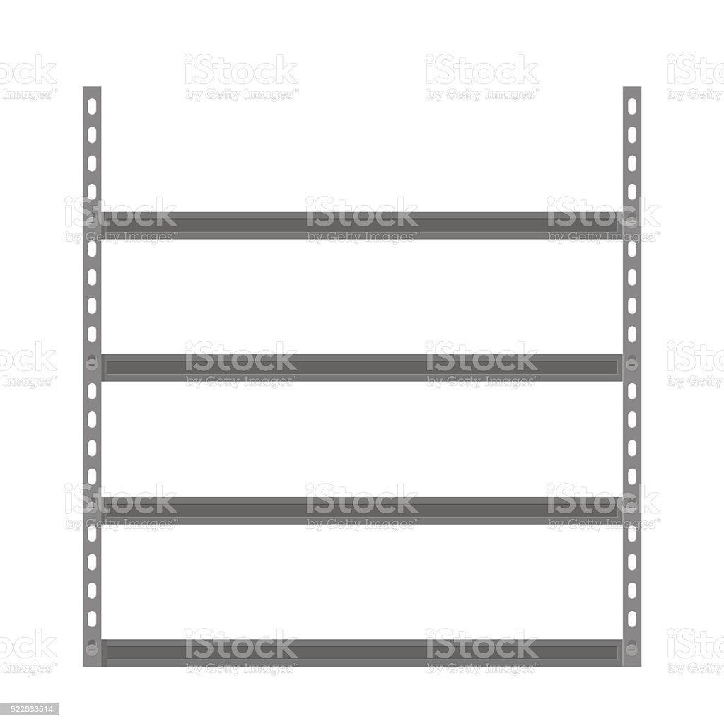Empty metallic storage shelves vector art illustration