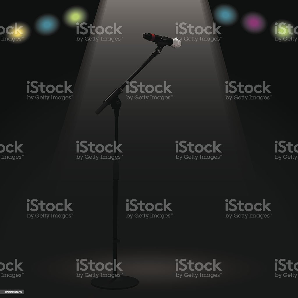 Empty Mic At Center Stage vector art illustration