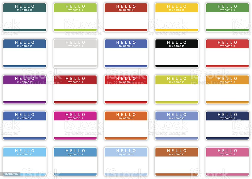 Empty nametag hello my name is sticker tag color label vector art illustration