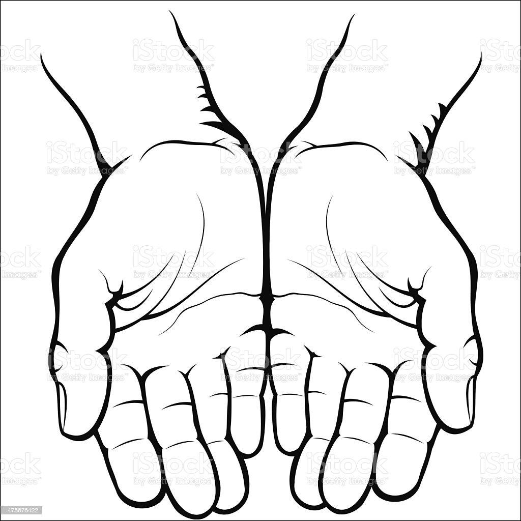 Empty open palms vector art illustration