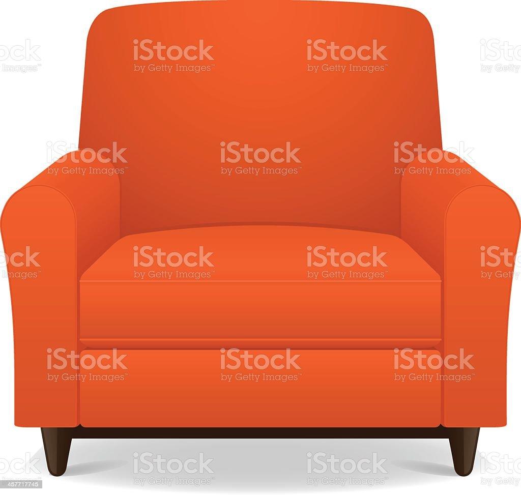 Empty orange fabric armchair with wooden legs vector art illustration