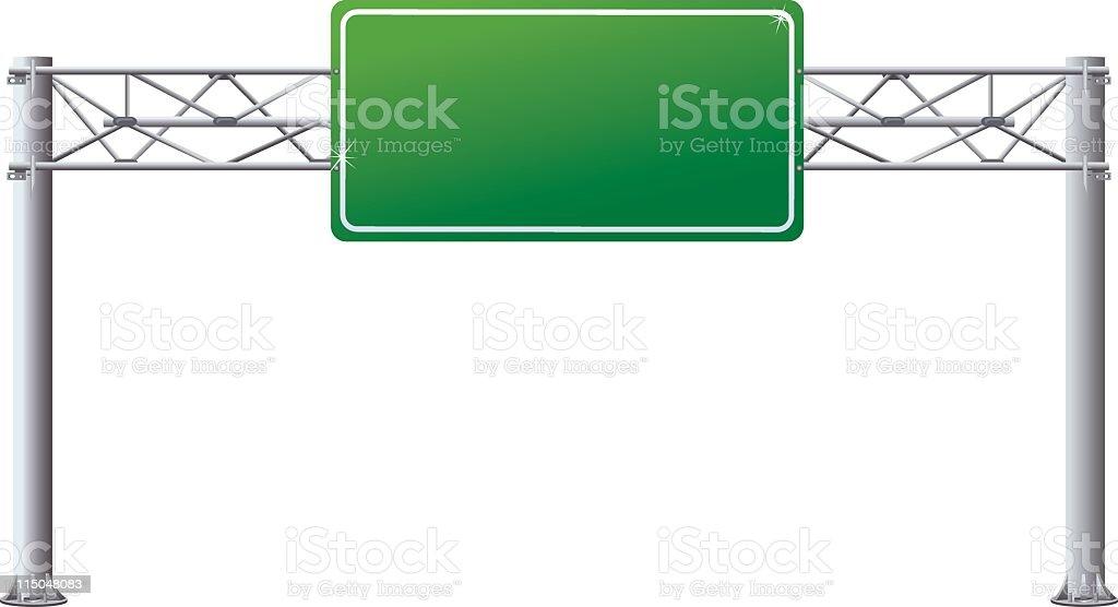 Empty Overhead Directional Highway Road Sign on Posts vector art illustration