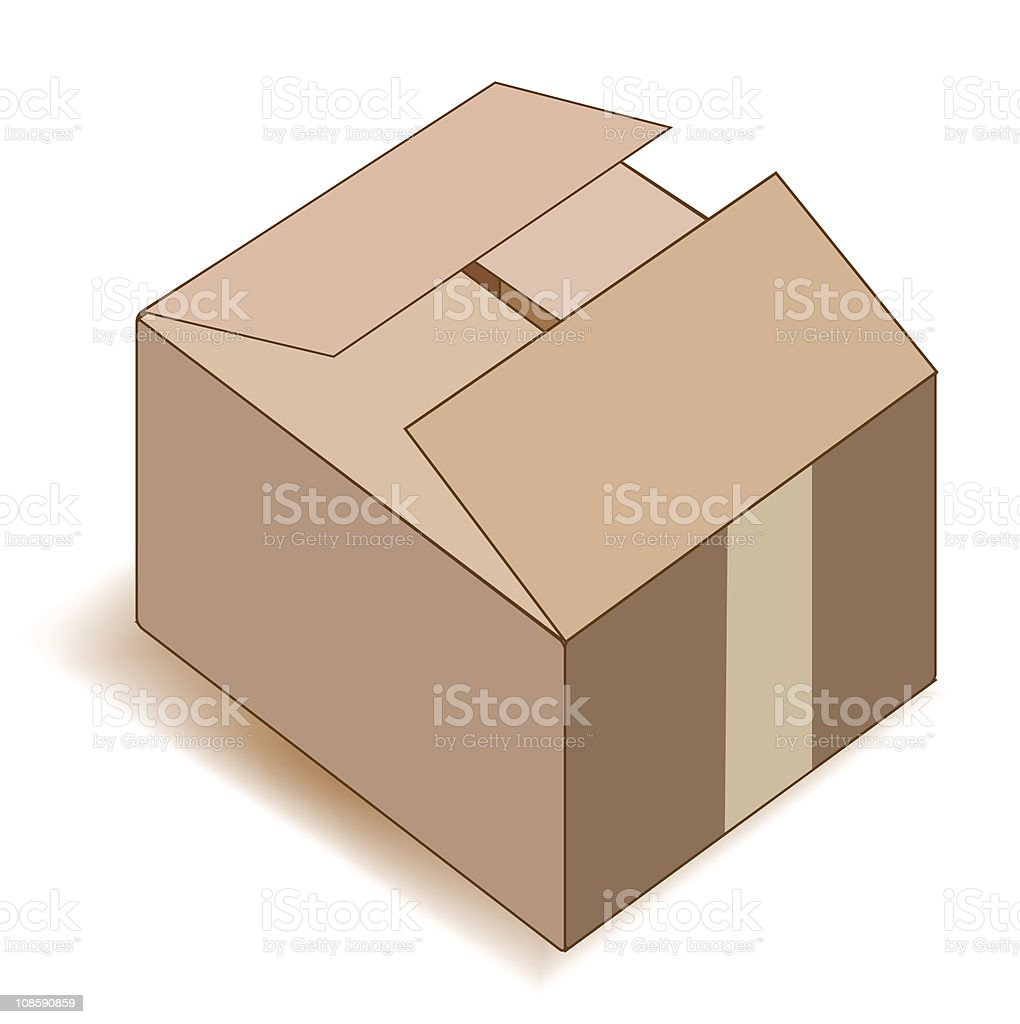 Empty paper box over white. royalty-free stock vector art
