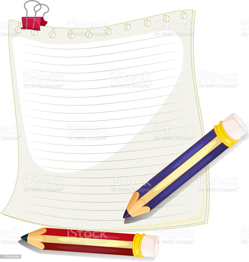 Empty paper with a clip and two pencils royalty-free stock vector art