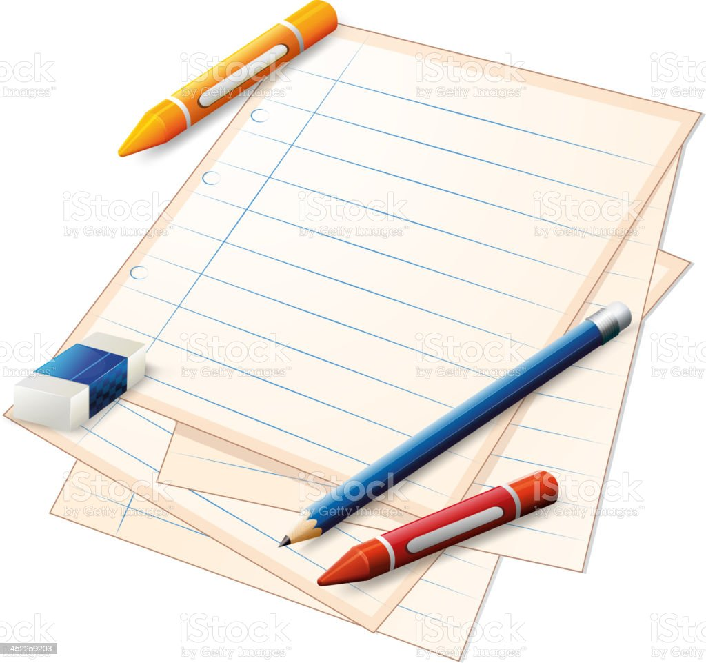 Empty paper with crayons, pencil and eraser royalty-free stock vector art