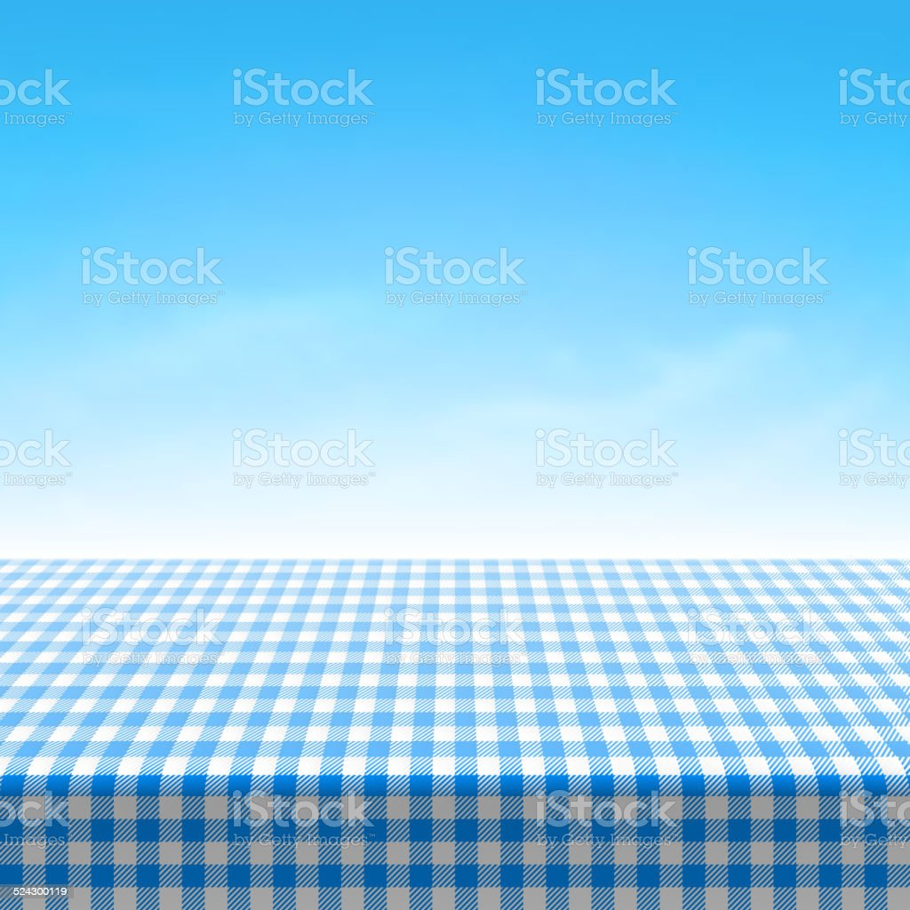 Empty picnic table covered with blue checkered tablecloth vector art illustration