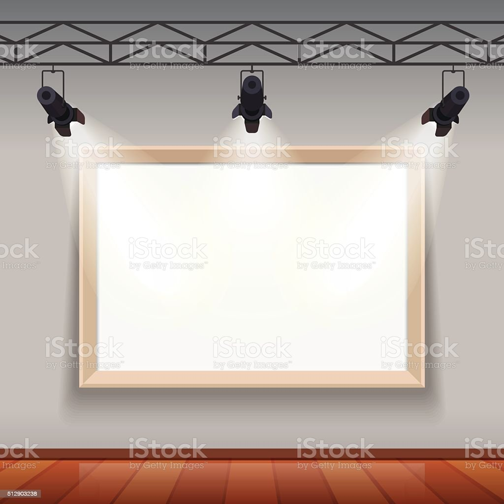 Empty picture frame in arts museum room hall vector art illustration