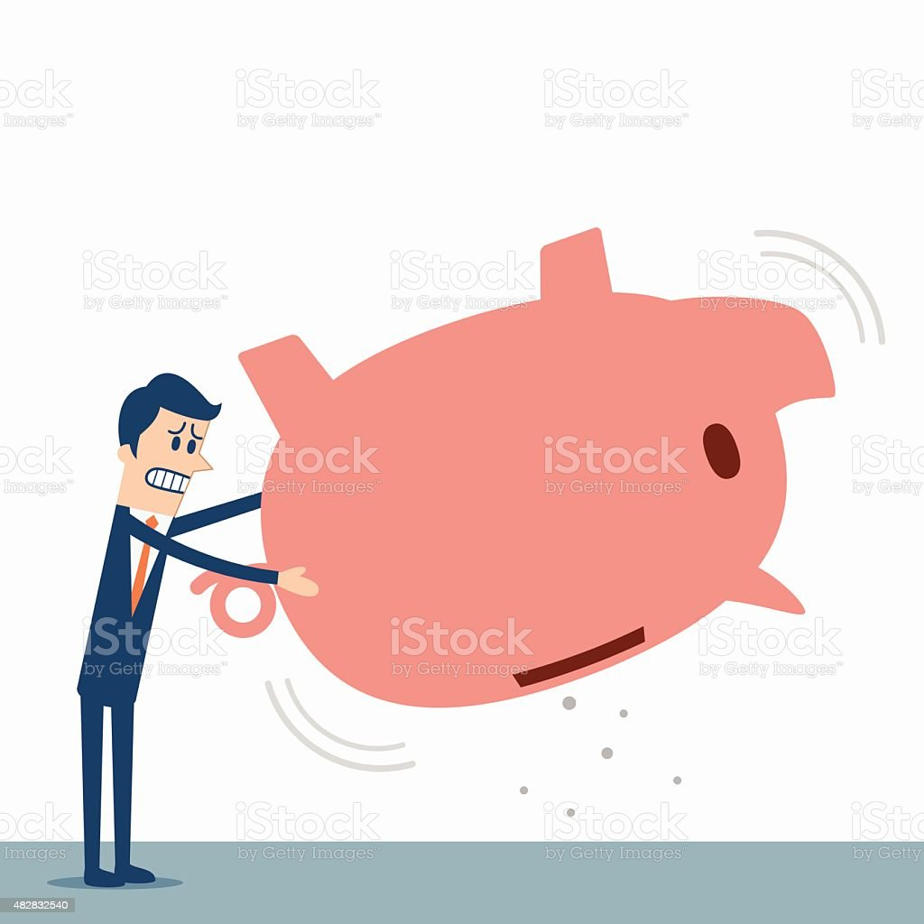 Empty piggy bank vector art illustration