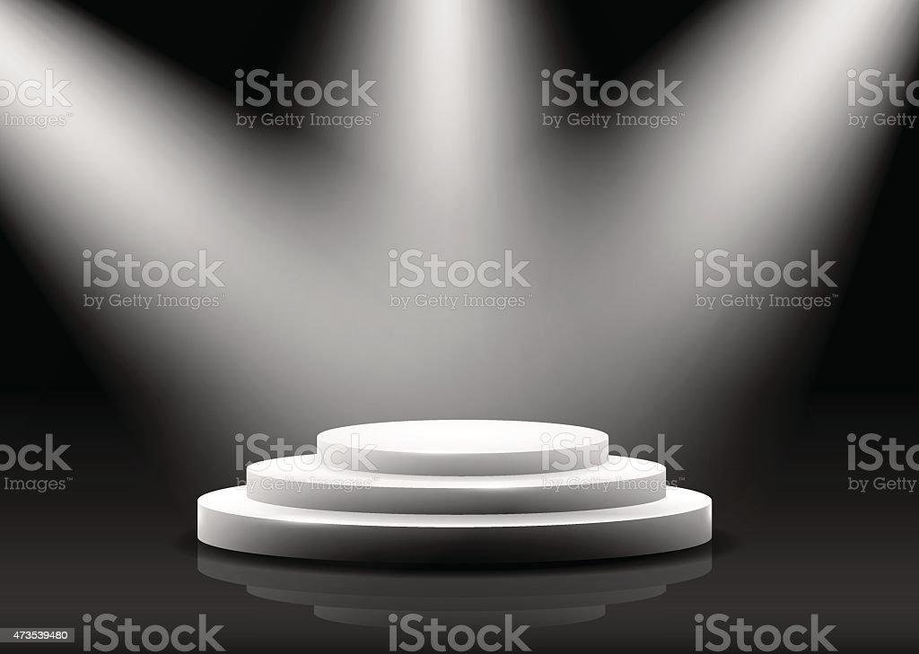 empty podium  on black vector art illustration