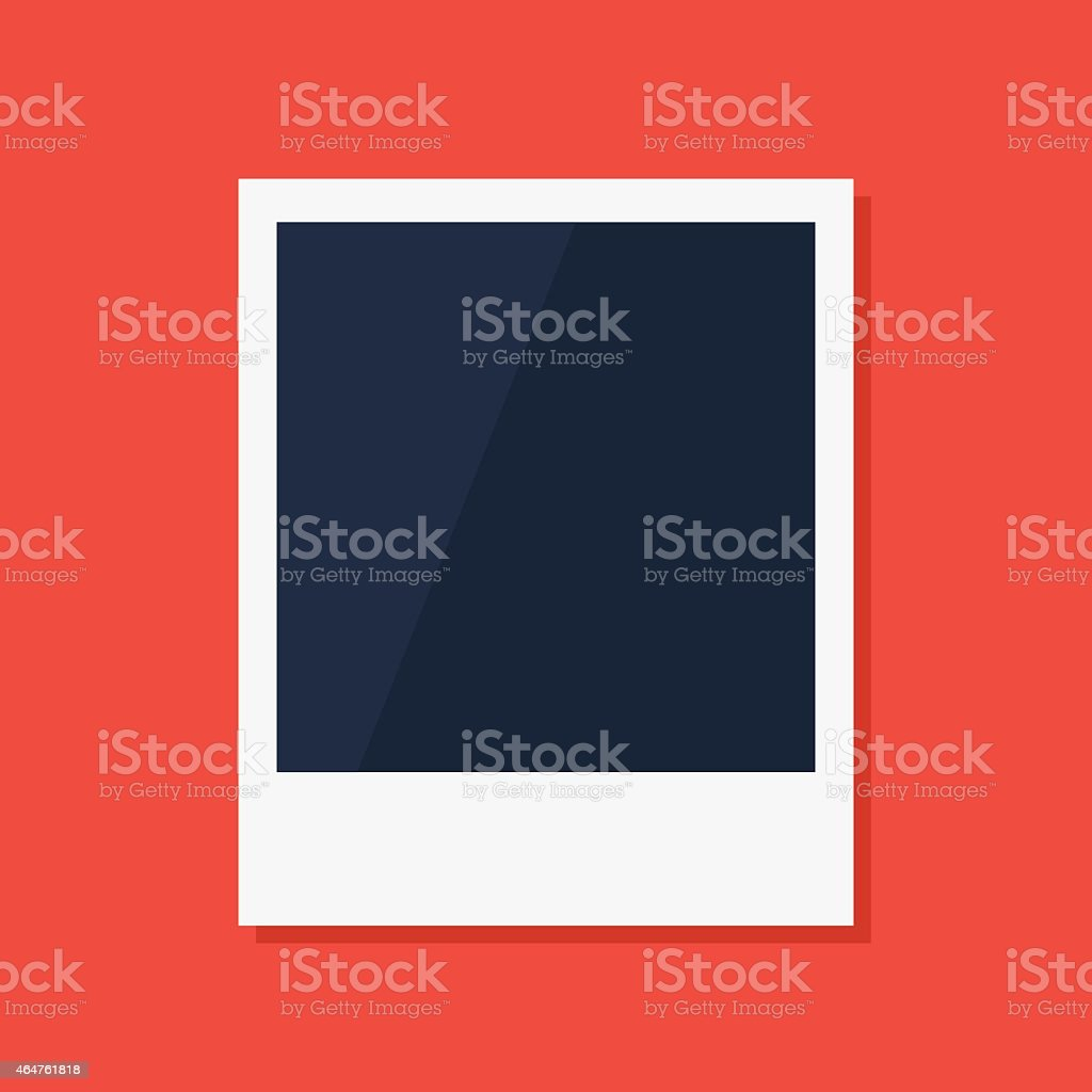 Empty polaroid photo frame in red background vector art illustration