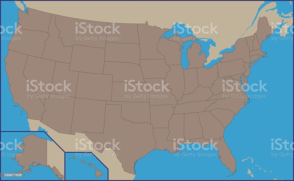 Empty Political Map of USA vector art illustration