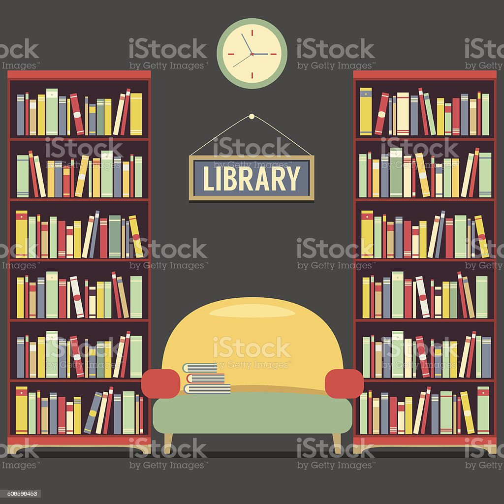 Empty Reading Seat In Library Vector Illustration vector art illustration